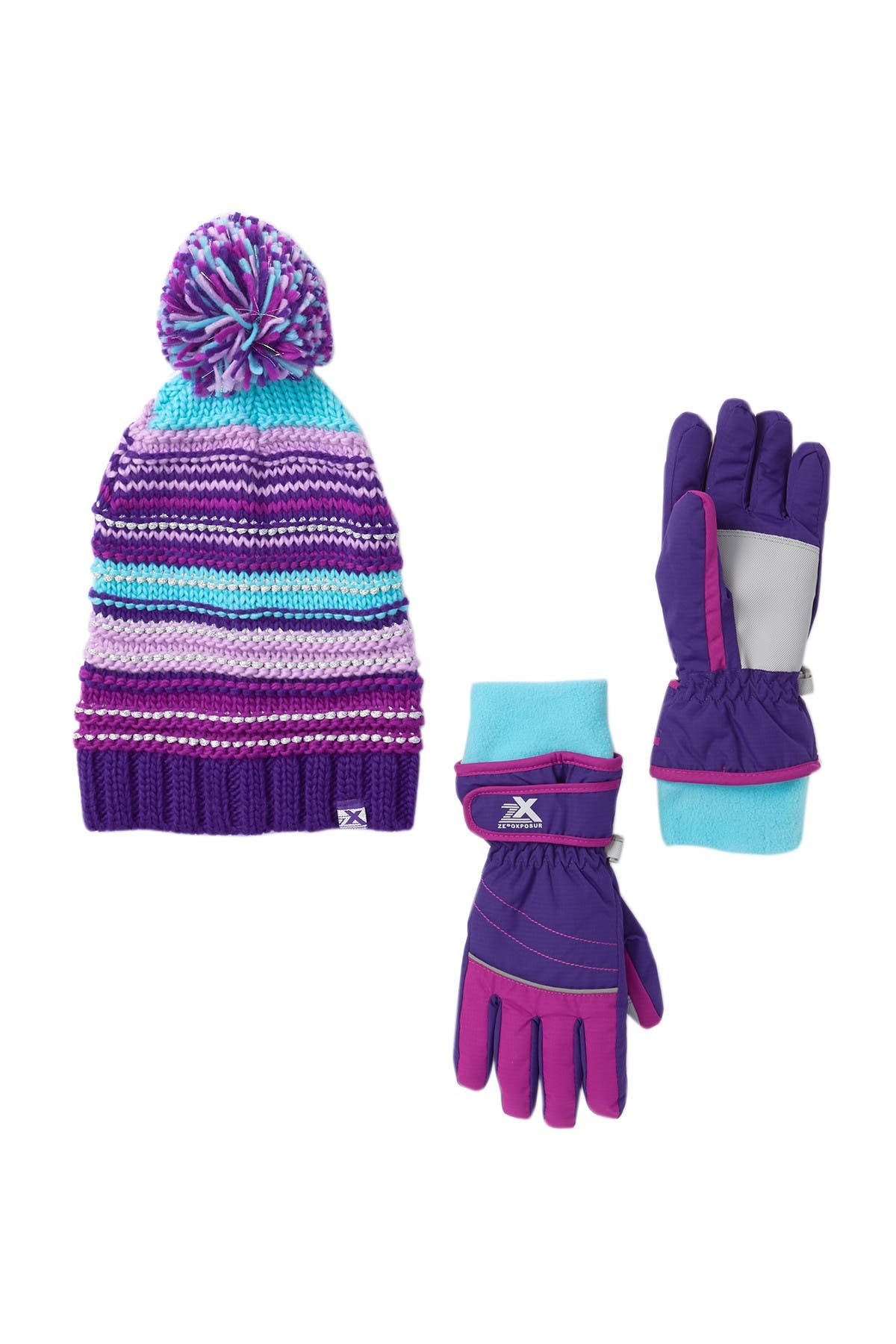 ZeroXposur Heera Girls Thinsulate Winter Gloves and Hat Set
