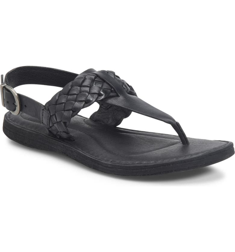 BØRN Sumter Braided Sandal, Main, color, BLACK LEATHER
