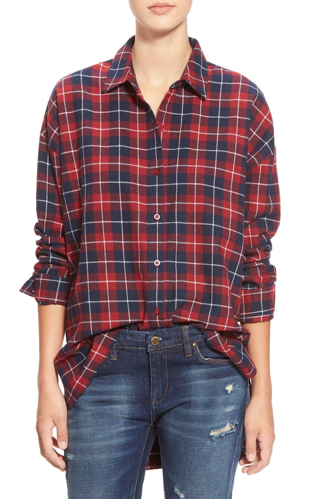Oversize Plaid Button Front Shirt, Main, color, 600
