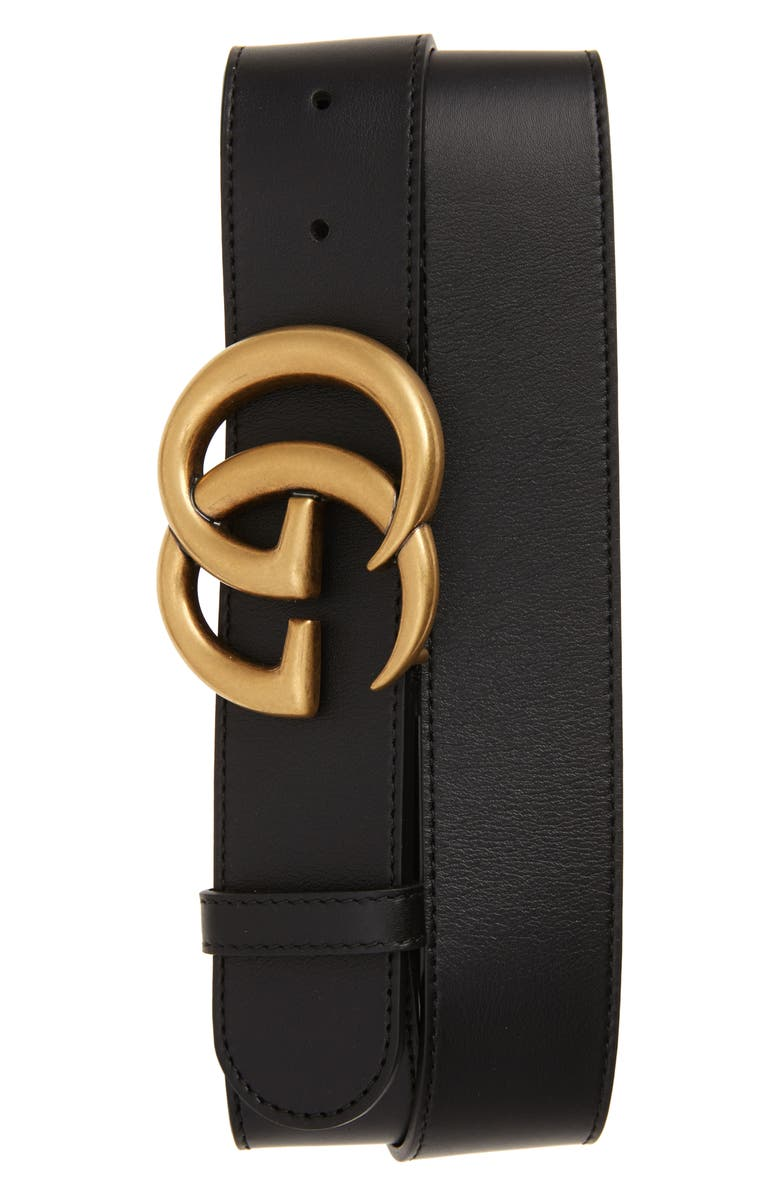 GUCCI Cintura Donna Leather Belt, Main, color, BLACK