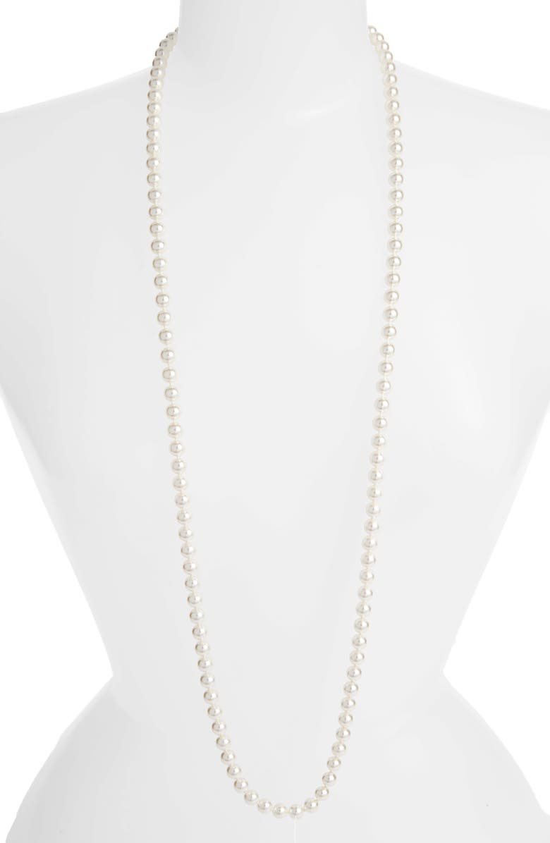 NADRI Simulated Pearl Long Necklace, Main, color, PEARL/ SILVER