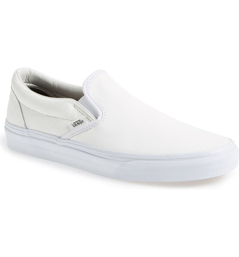 VANS 'Classic' Slip-On Sneaker, Main, color, CRACKLE WHITE/ WHITE