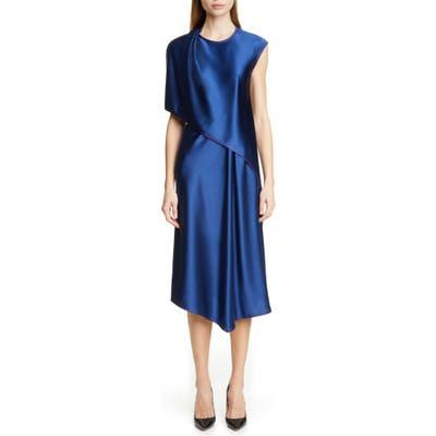 Sies Marjan Draped Crinkle Satin Dress, Blue