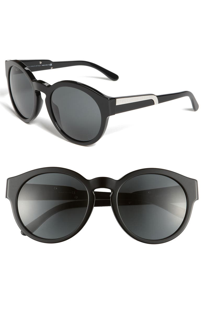 STELLA MCCARTNEY 54mm Round Sunglasses, Main, color, 001