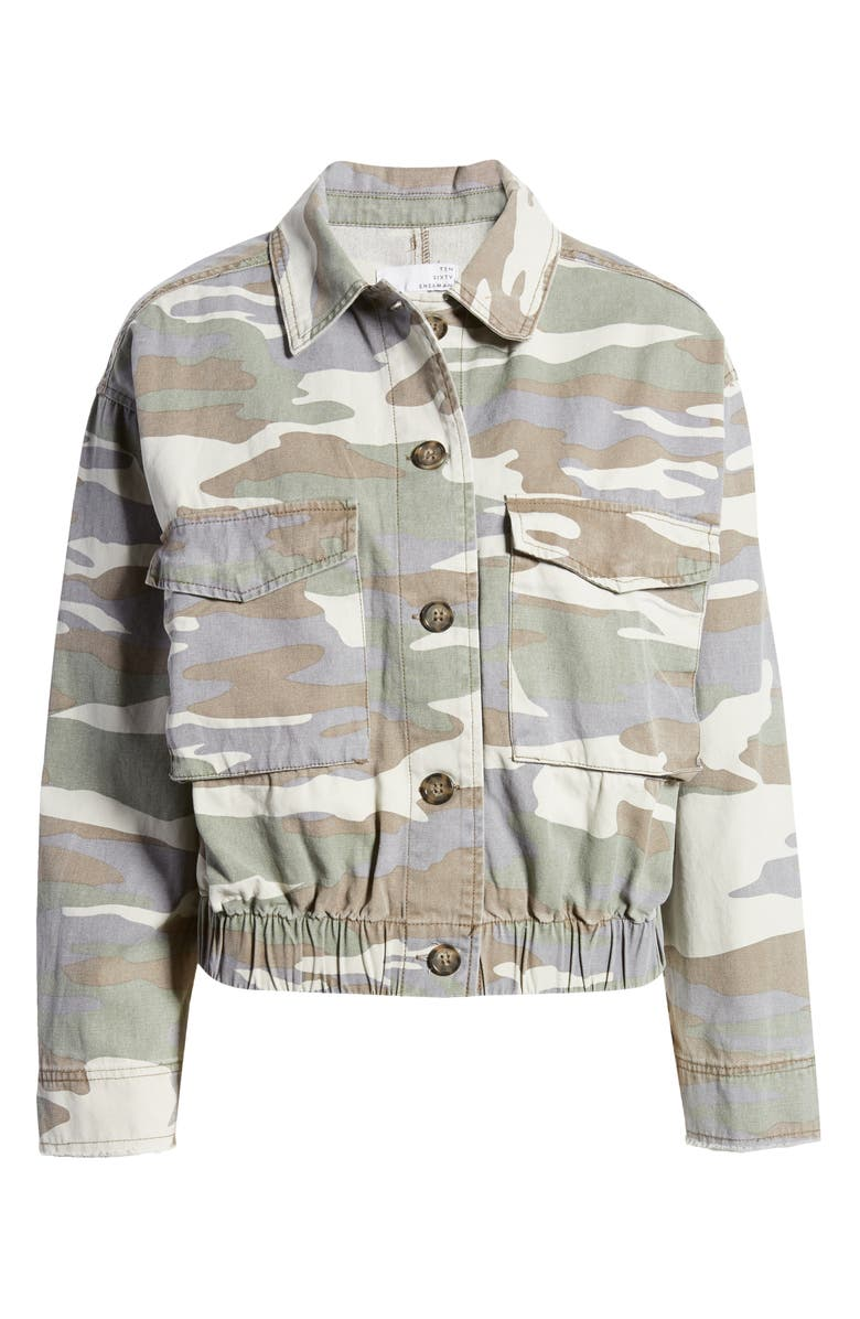 TEN SIXTY SHERMAN Crop Camo Jacket, Main, color, OLIVE/ GREY COMBO