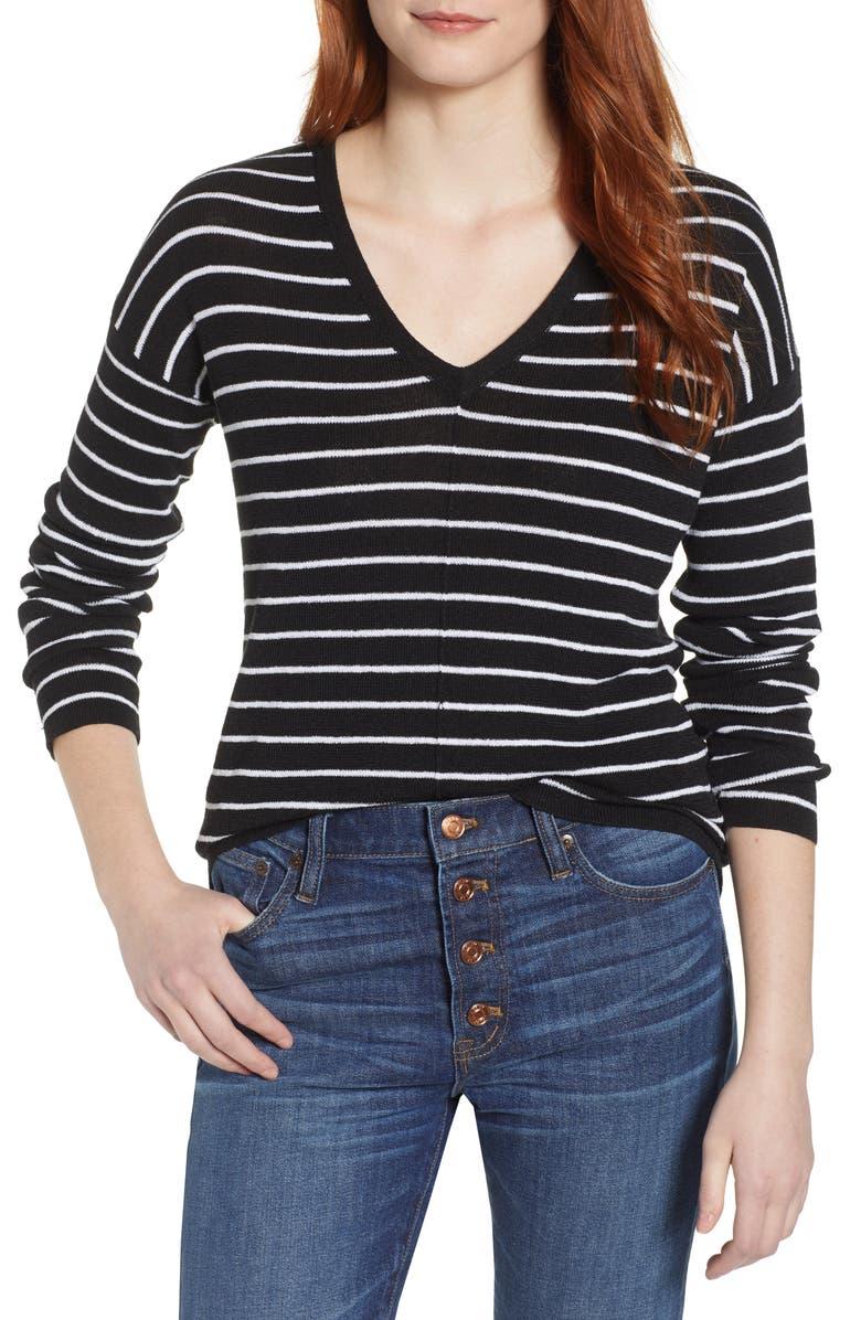 CASLON<SUP>®</SUP> V-Neck Sweater, Main, color, BLACK- WHITE JULIA STRIPE