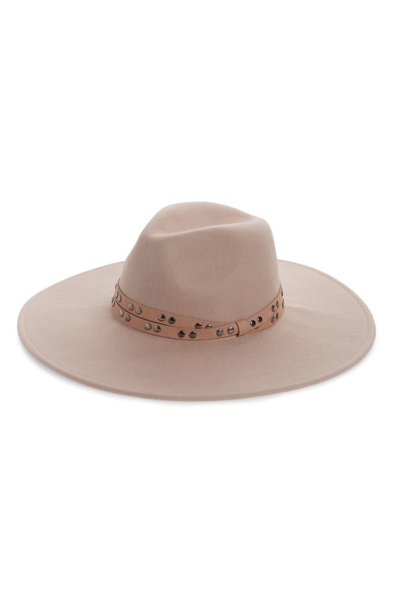 TREASURE & BOND Studded Band Felted Wool Panama Hat, Main, color, TEAROSE LIGHT