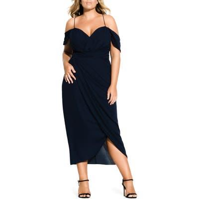 Plus Size City Chic Entwine Cold Shoulder Maxi Dress, Blue