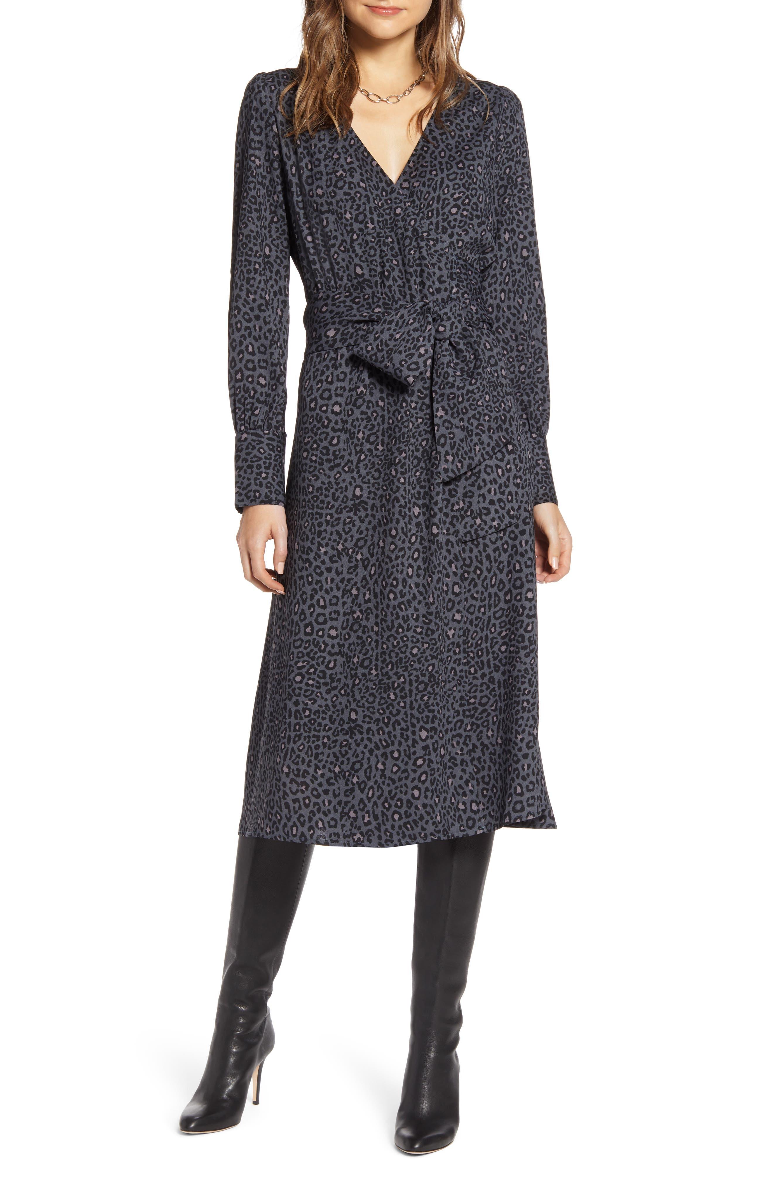Halogen® Long Sleeve Wrap Midi Dress (Regular & Petite)