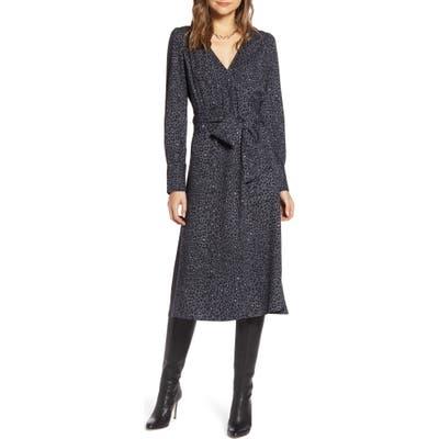 Halogen Long Sleeve Wrap Midi Dress, Grey
