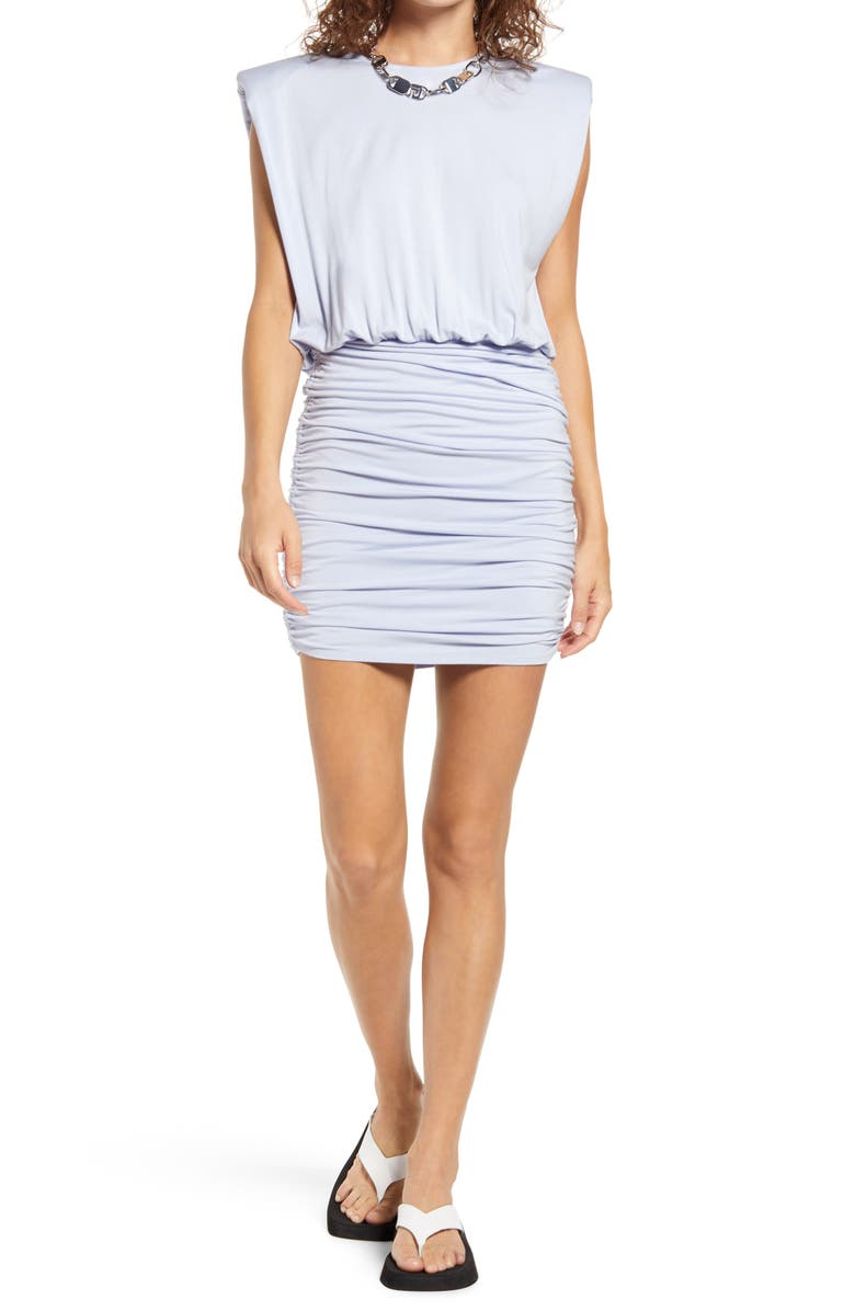 OPEN EDIT Strong Shoulder Body-Con Minidress, Main, color, BLUE FEATHER