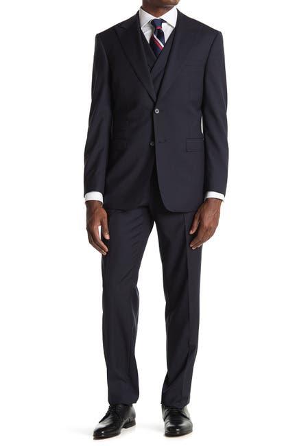 Image of English Laundry Blue Check Two Button Peak Lapel Vest Suit