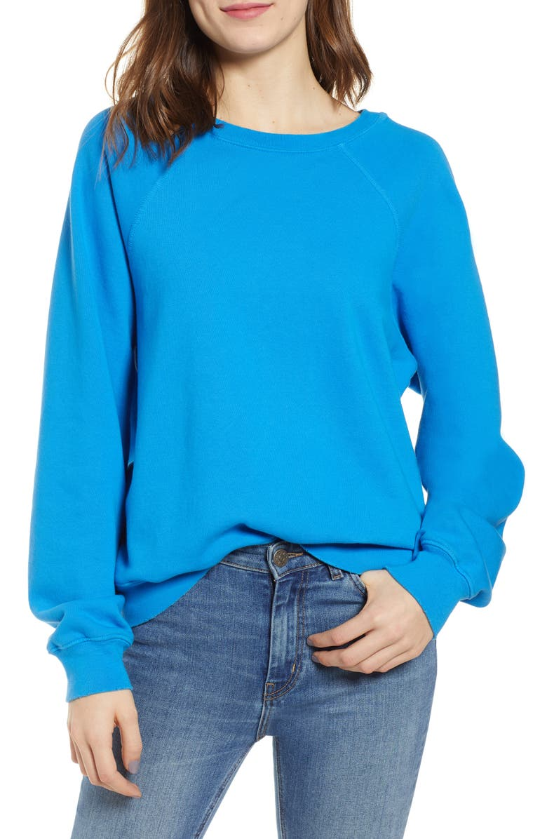 HUDSON JEANS Raglan Sleeve French Terry Pullover, Main, color, 400