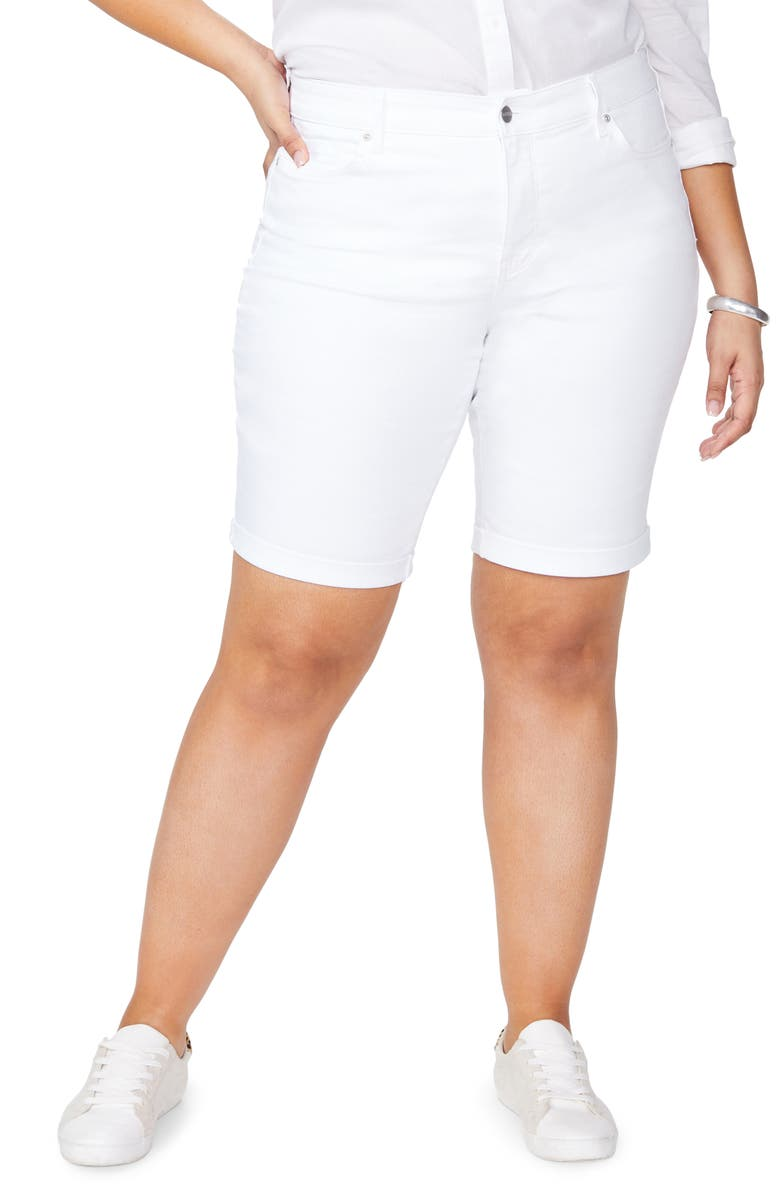 NYDJ Briella Cool Embrace Roll Cuff Shorts, Main, color, OPTIC WHITE
