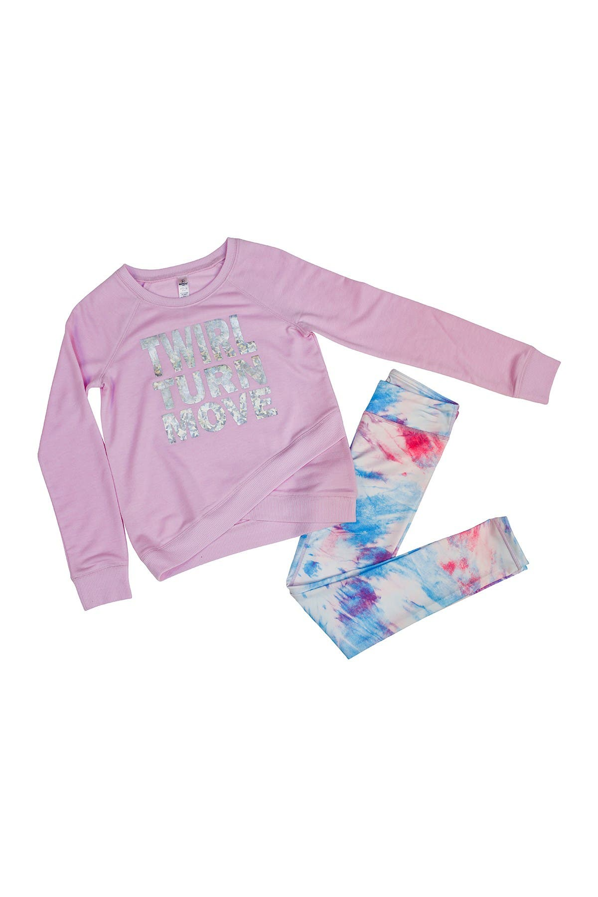 Image of 90 Degree By Reflex Cross Over Sweater & Printed Legging Set