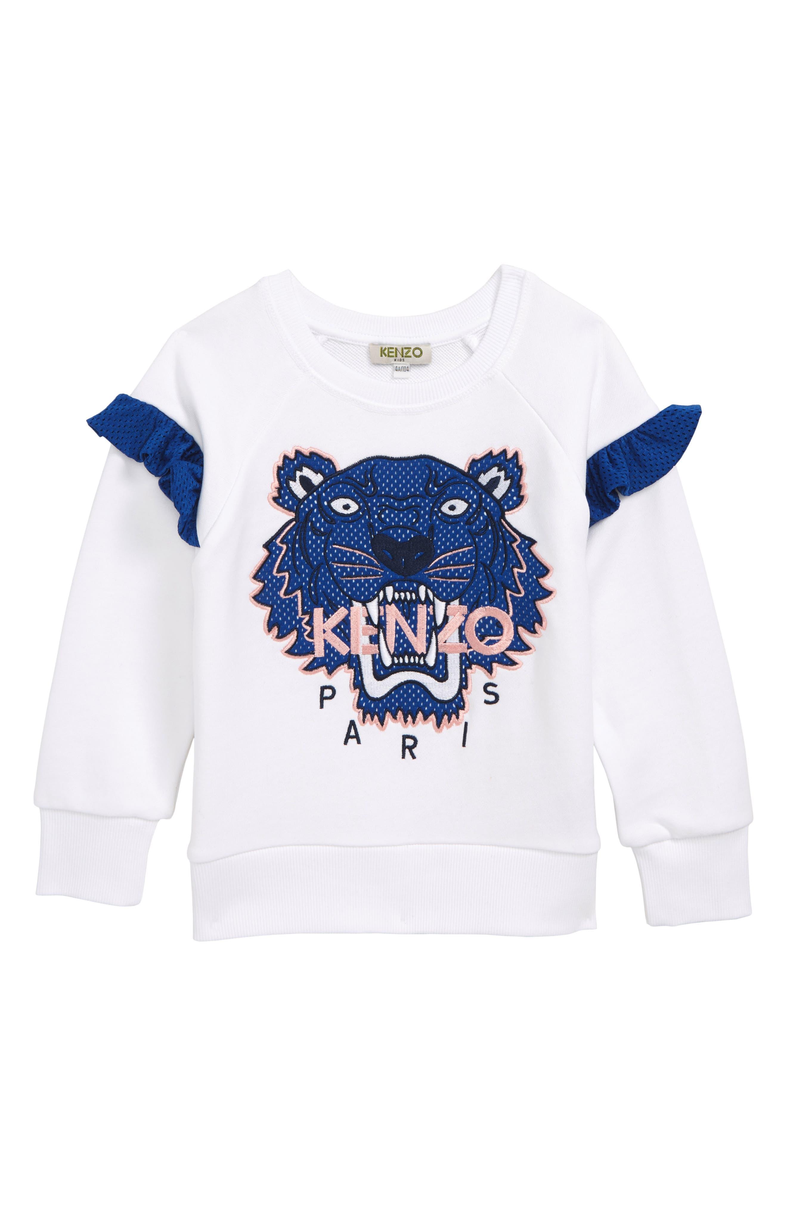 ,                             Ruffle Sleeve Sweatshirt,                             Main thumbnail 1, color,                             WHITE