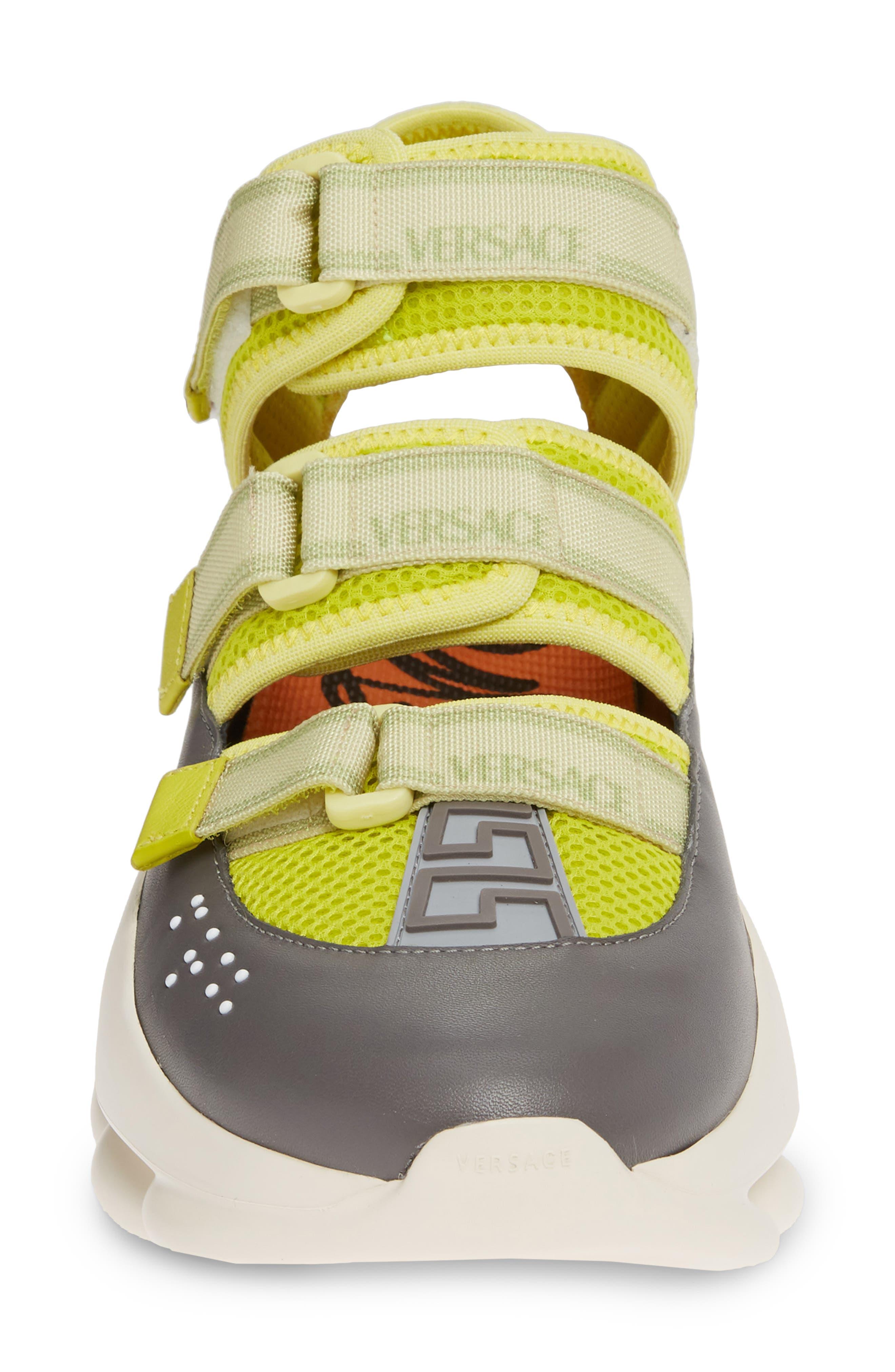 ,                             Chain Reaction Strappy Logo Sneaker,                             Alternate thumbnail 4, color,                             LIME