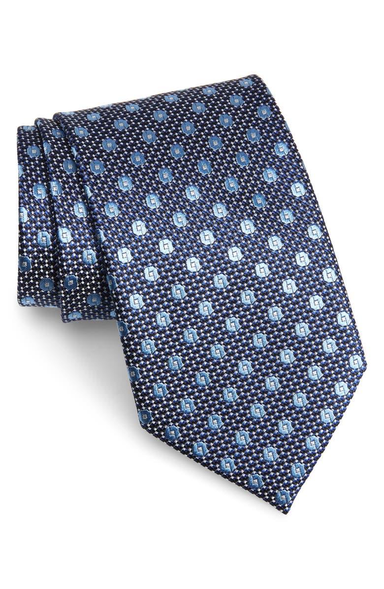 ERMENEGILDO ZEGNA Medallion Silk X-Long Tie, Main, color, NAVY FAN
