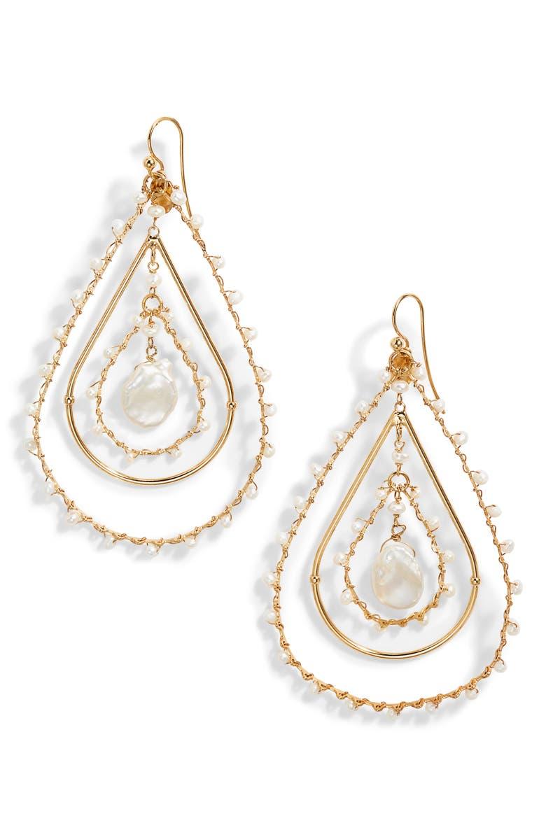 GAS BIJOUX Orphee Pearl Teardrop Earrings, Main, color, 100