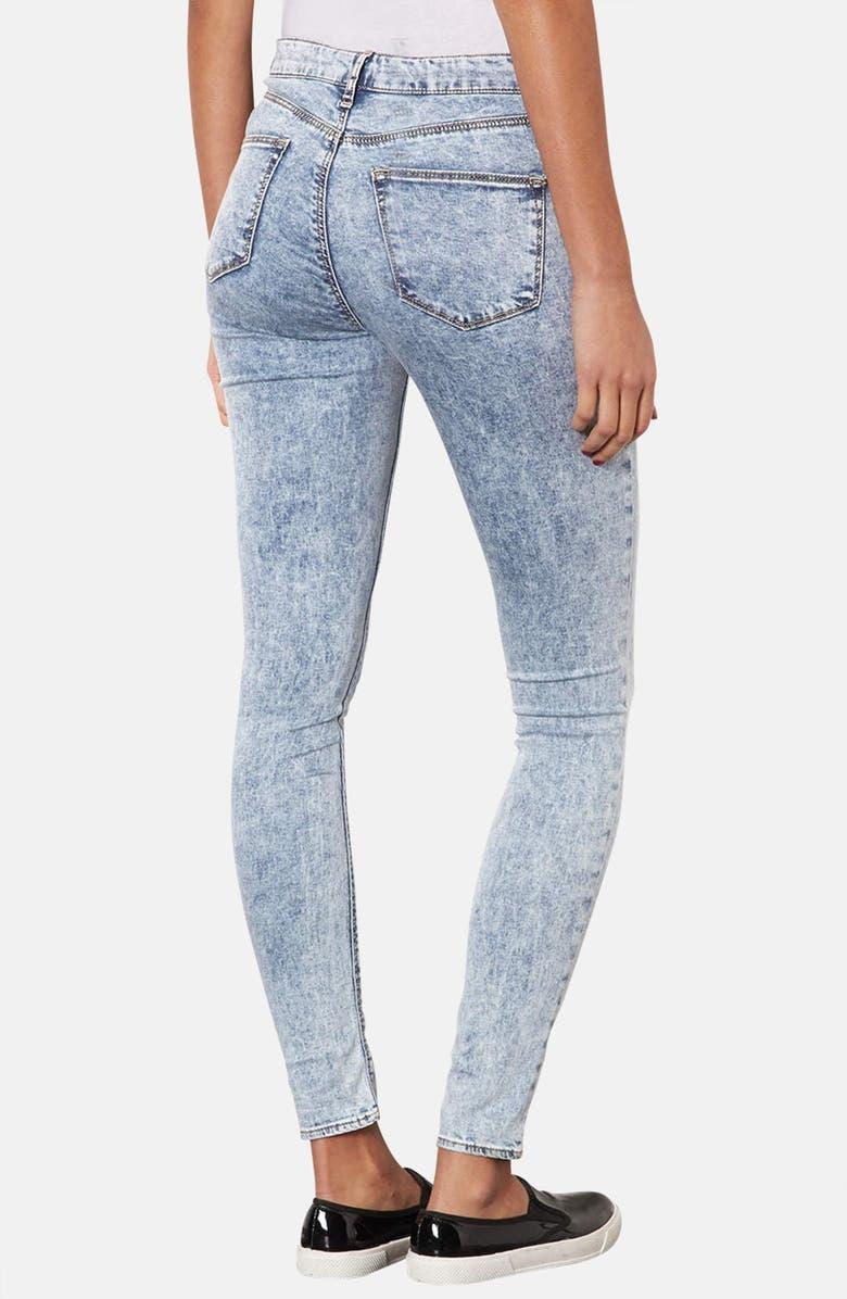 TOPSHOP Moto 'Leigh' Acid Wash Skinny Jeans, Main, color, 400