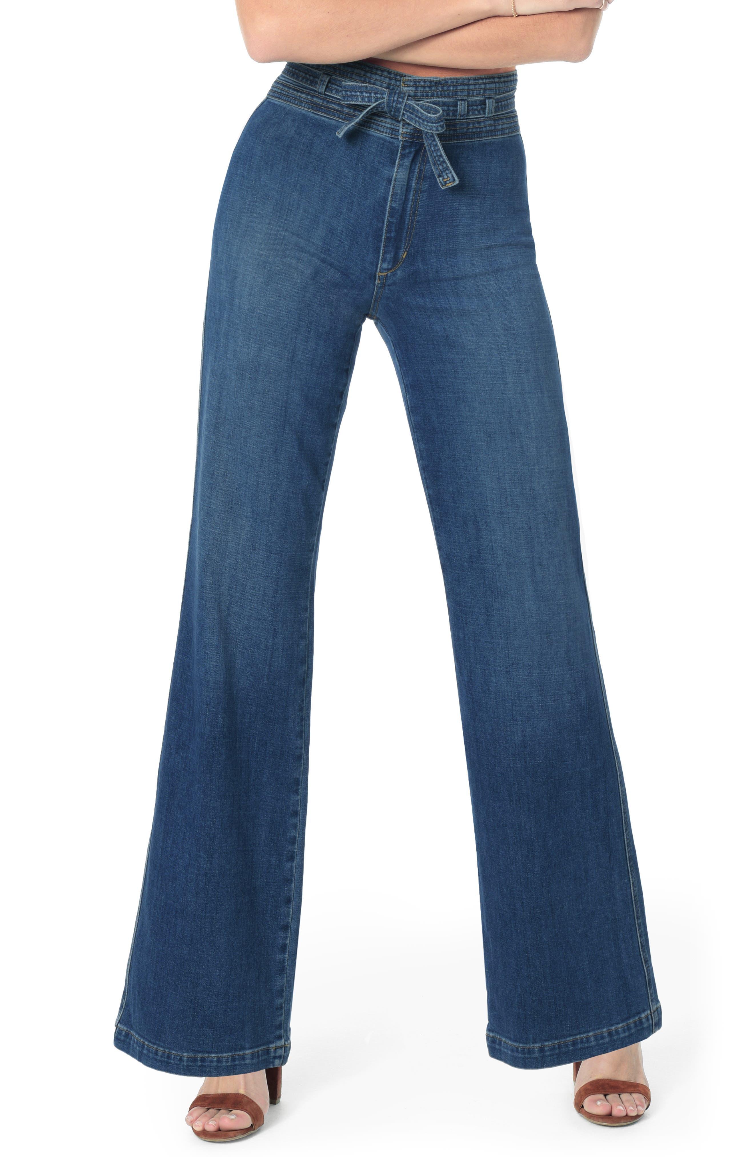 60s – 70s Pants, Jeans, Hippie, Bell Bottoms, Jumpsuits Womens Joes High Waist Flare Jeans Size 28 - Blue $124.80 AT vintagedancer.com