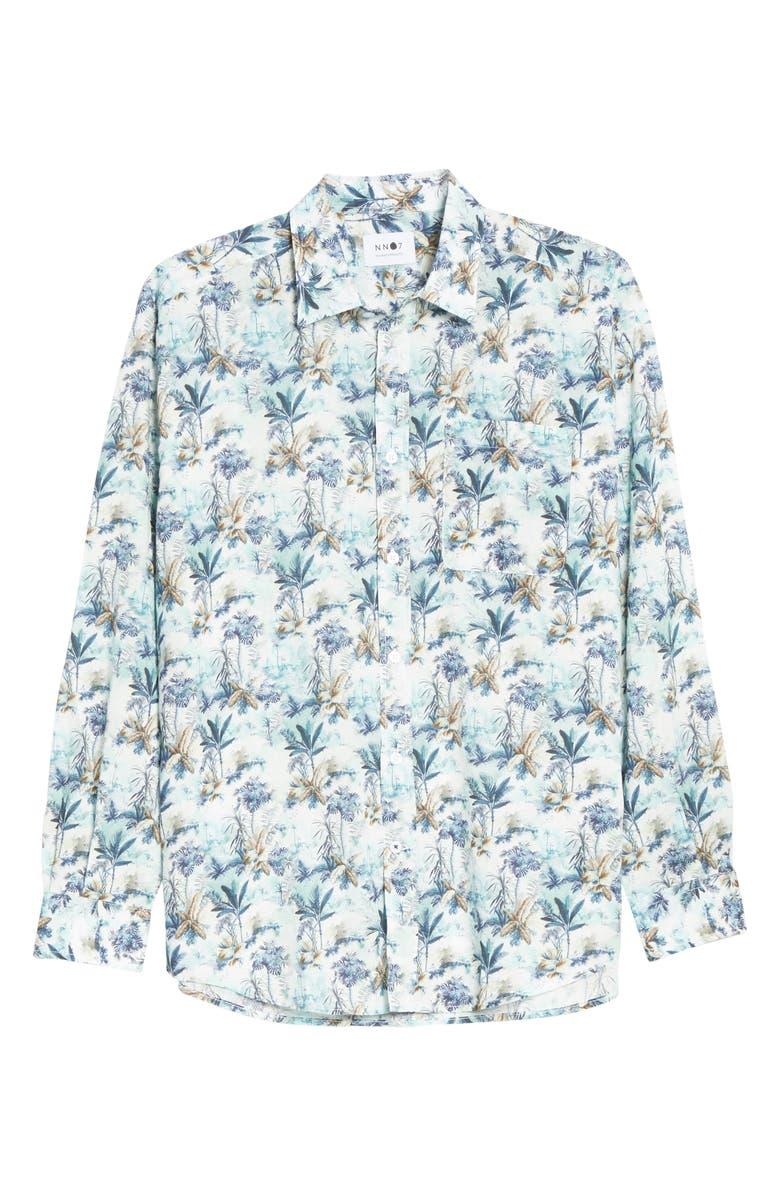 NN07 Deon 5124 Leaf Print Button-Up Shirt, Main, color, LIGHT BLUE PRINT