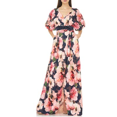 Carmen Marc Valvo Infusion Floral Print Chiffon Ballgown, Pink