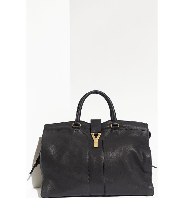 YVES SAINT LAURENT 'Cabas Chyc - Large' Leather Satchel, Main, color, 001