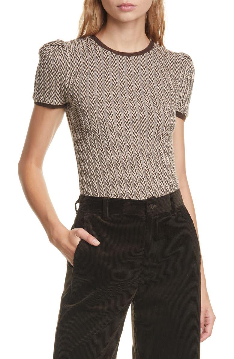 POLO RALPH LAUREN Herringbone Puff Sleeve Merino Wool Sweater, Main, color, BROWN/ CREAM