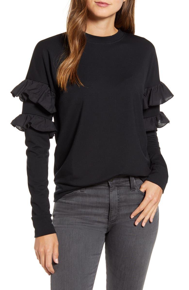 RACHEL PARCELL Ruffle Sweatshirt, Main, color, BLACK