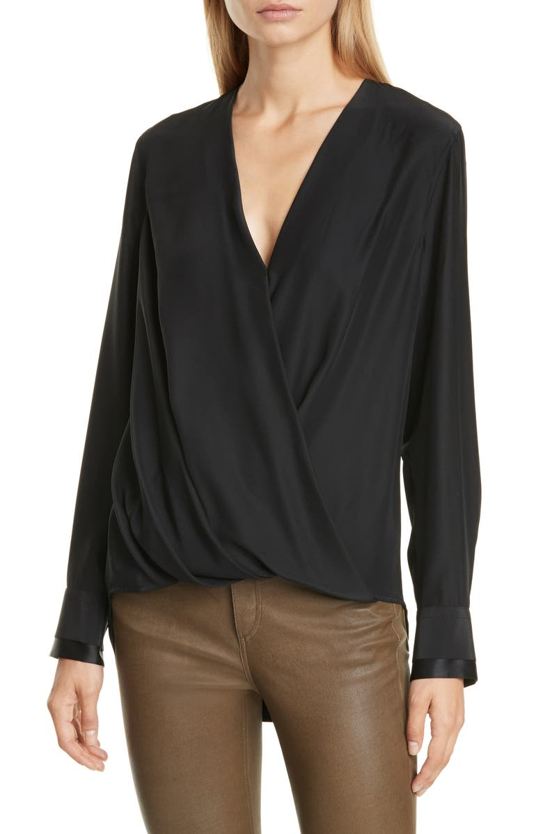 RAG & BONE Victor Silk Blouse, Main, color, BLACK