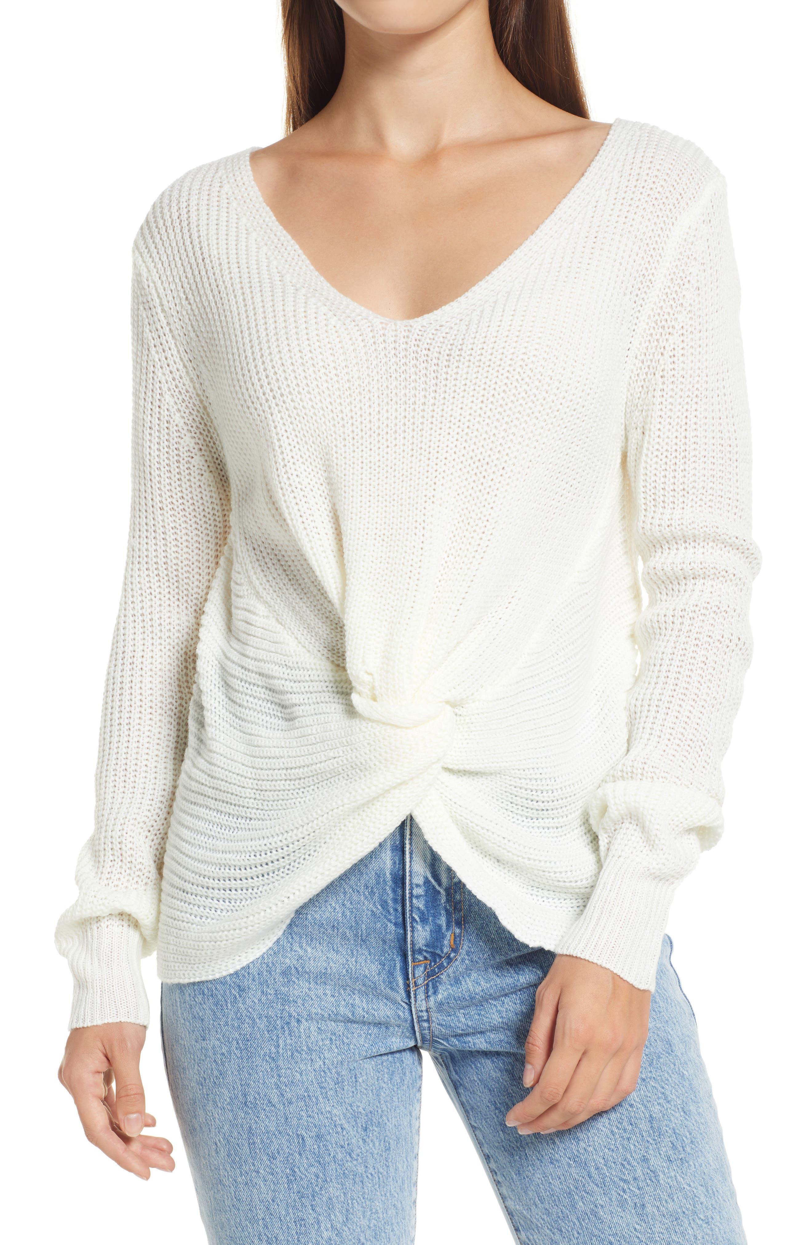Mood Booster Ivory Knit Twist Sweater