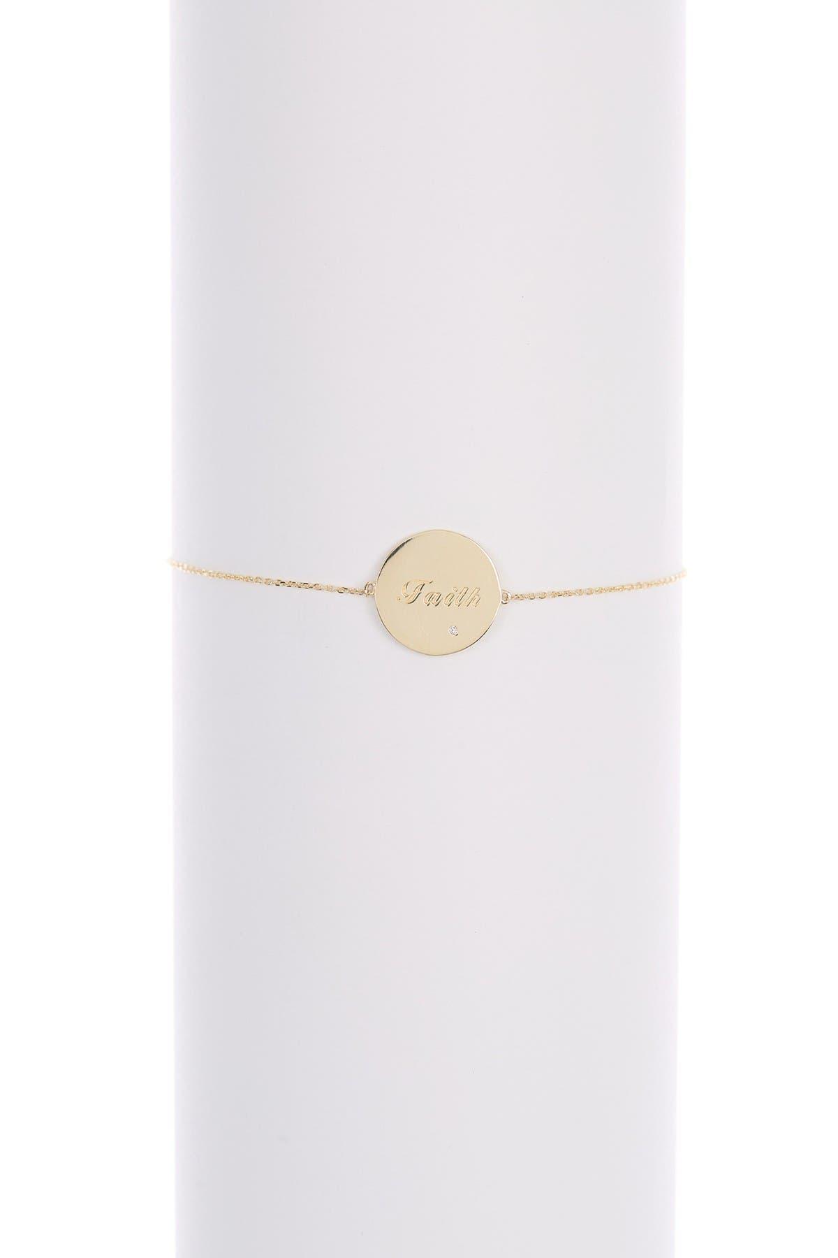 Image of Candela 10K Yellow Gold CZ 'Faith' Disc Adjustable Bracelet