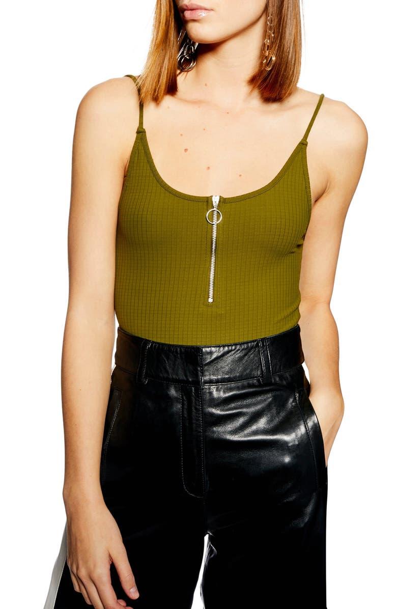 TOPSHOP Zip Front Bodysuit, Main, color, 300