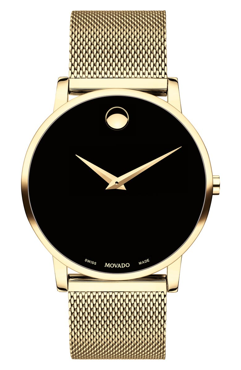 MOVADO Museum Mesh Bracelet Watch, 40mm, Main, color, GOLD/ BLACK/ GOLD