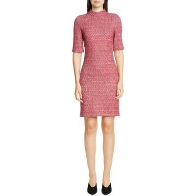St. John Collection Artisanal Basket Weave Knit Dress, Red
