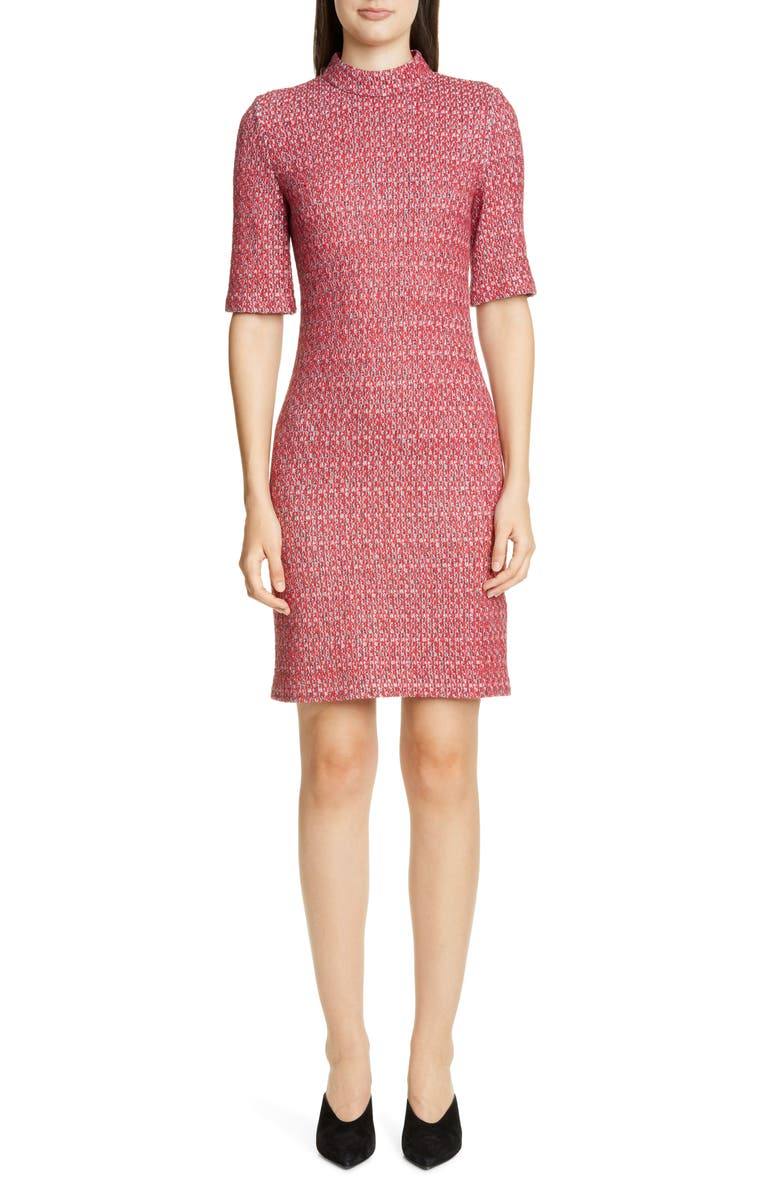 ST. JOHN COLLECTION Artisanal Basket Weave Knit Dress, Main, color, SCARLET MULTI