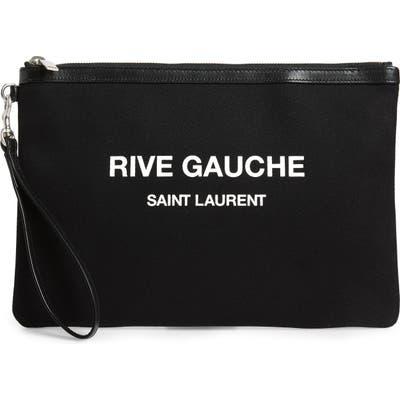 Saint Laurent Rive Gauche Canvas Pouch - Black