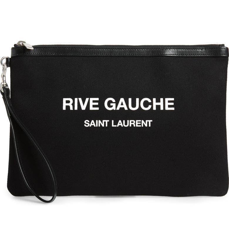 Rive Gauche Canvas Pouch by Saint Laurent