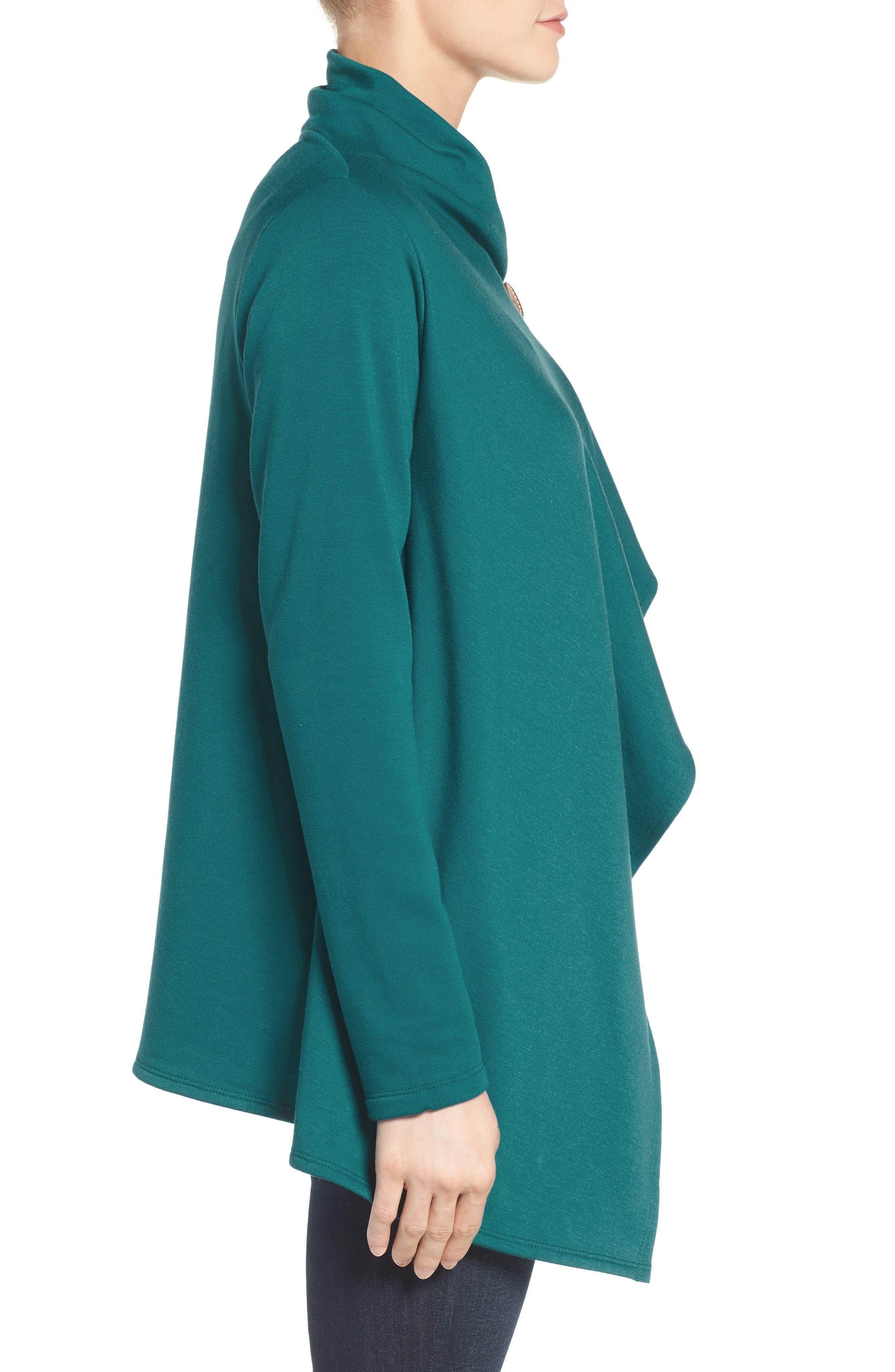 ,                             One-Button Fleece Wrap Cardigan,                             Alternate thumbnail 97, color,                             369