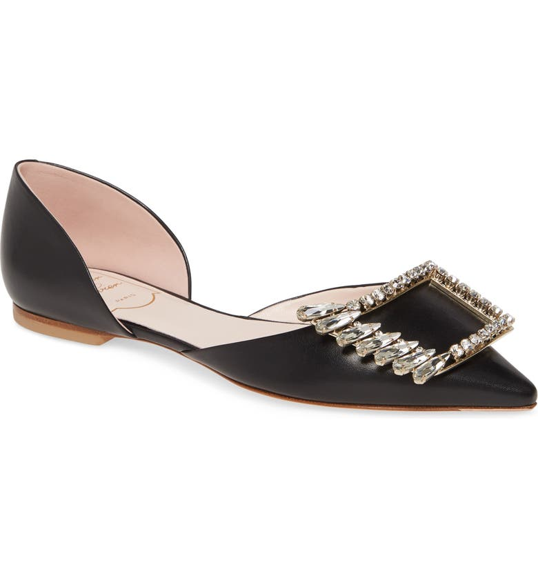 ROGER VIVIER Wings Crystal Buckle Pointed Toe Flat, Main, color, BLACK