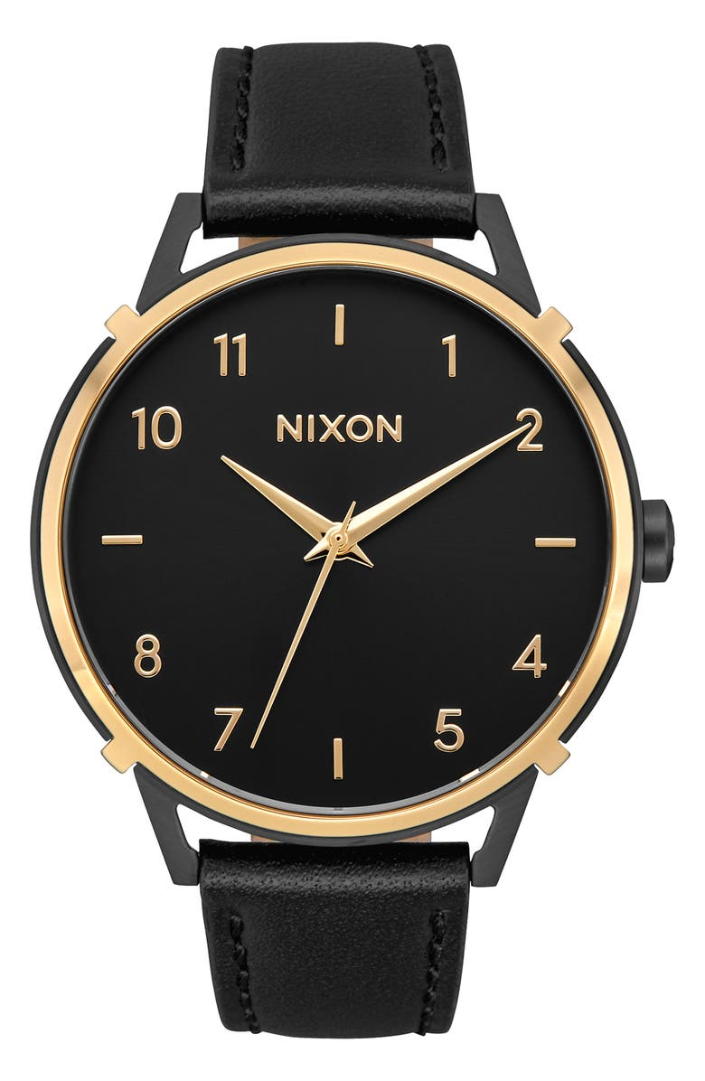NIXON The Arrow Leather Strap Watch, 38mm, Main, color, BLACK/ GOLD
