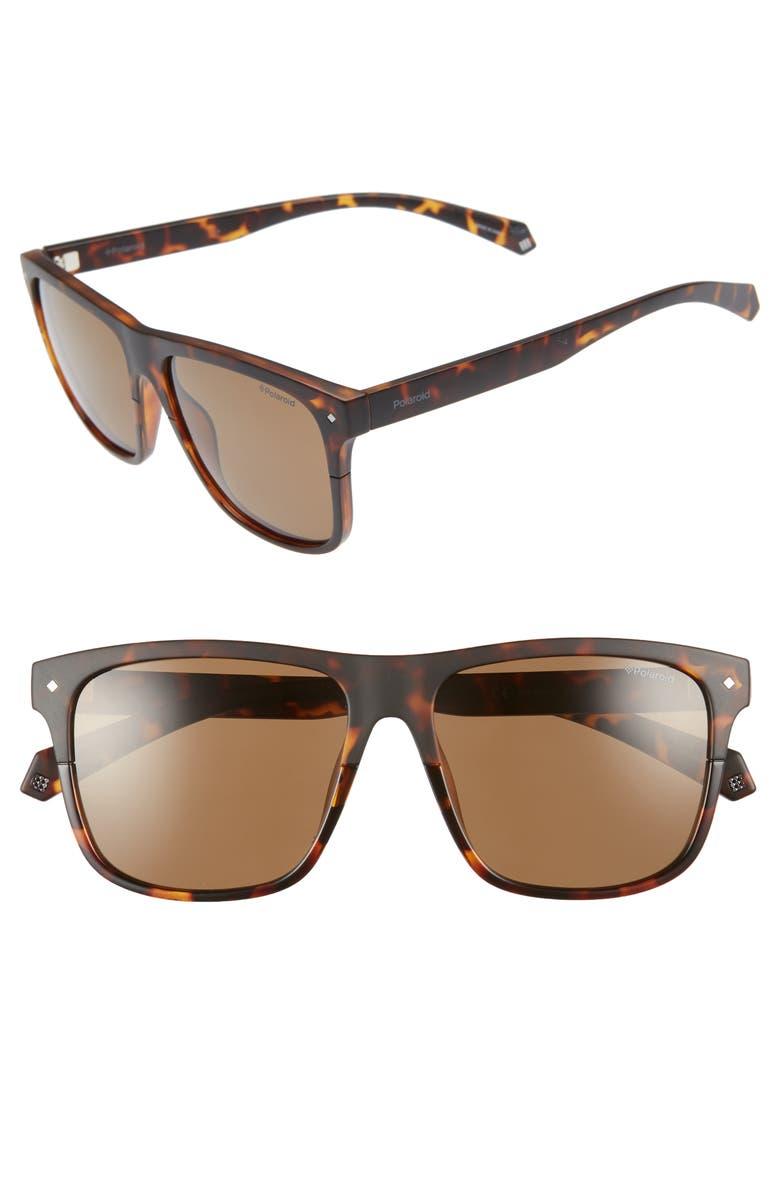 POLAROID EYEWEAR Flat Top 56mm Polarized Sunglasses, Main, color, HAVANA