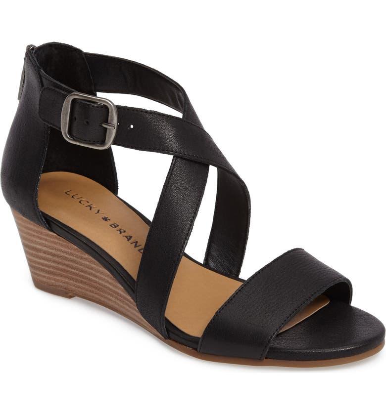 LUCKY BRAND Jenley Wedge Sandal, Main, color, 001