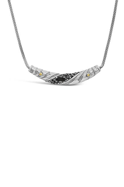 Image of DEVATA Sterling Silver & 18K Gold Black Spinel Bar Necklace