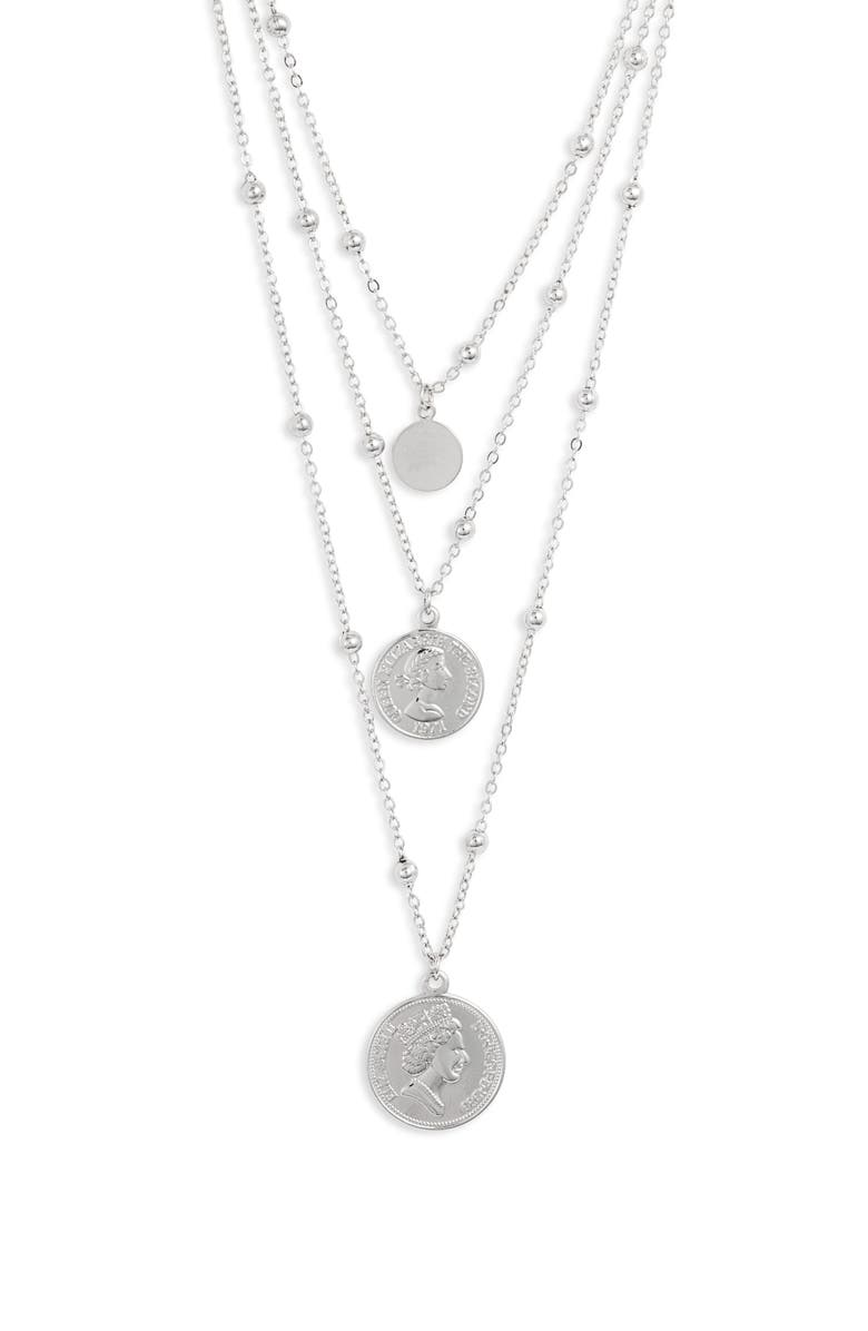 STERLING FOREVER Triple Medallion Layered Necklace, Main, color, SILVER