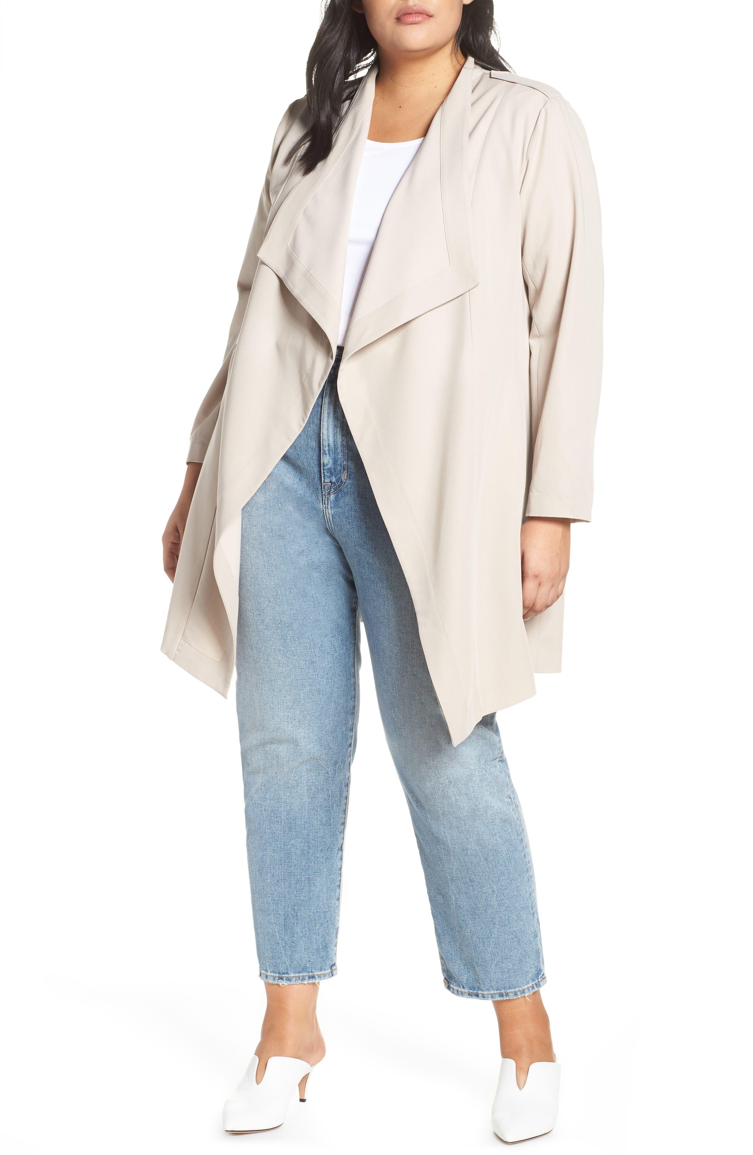 Plus Size Women's Halogen Drape Front Lightweight Jacket
