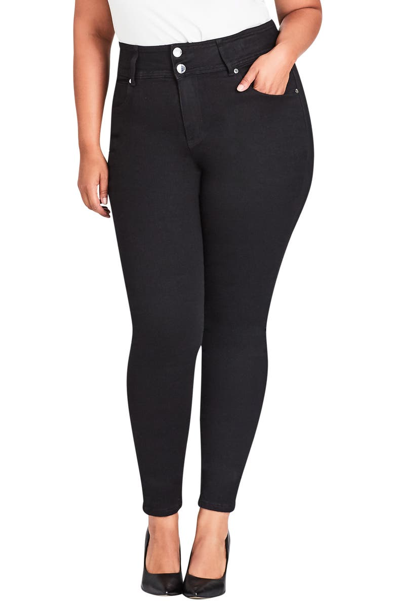 CITY CHIC Harley High Rise Skinny Jeans, Main, color, BLACK