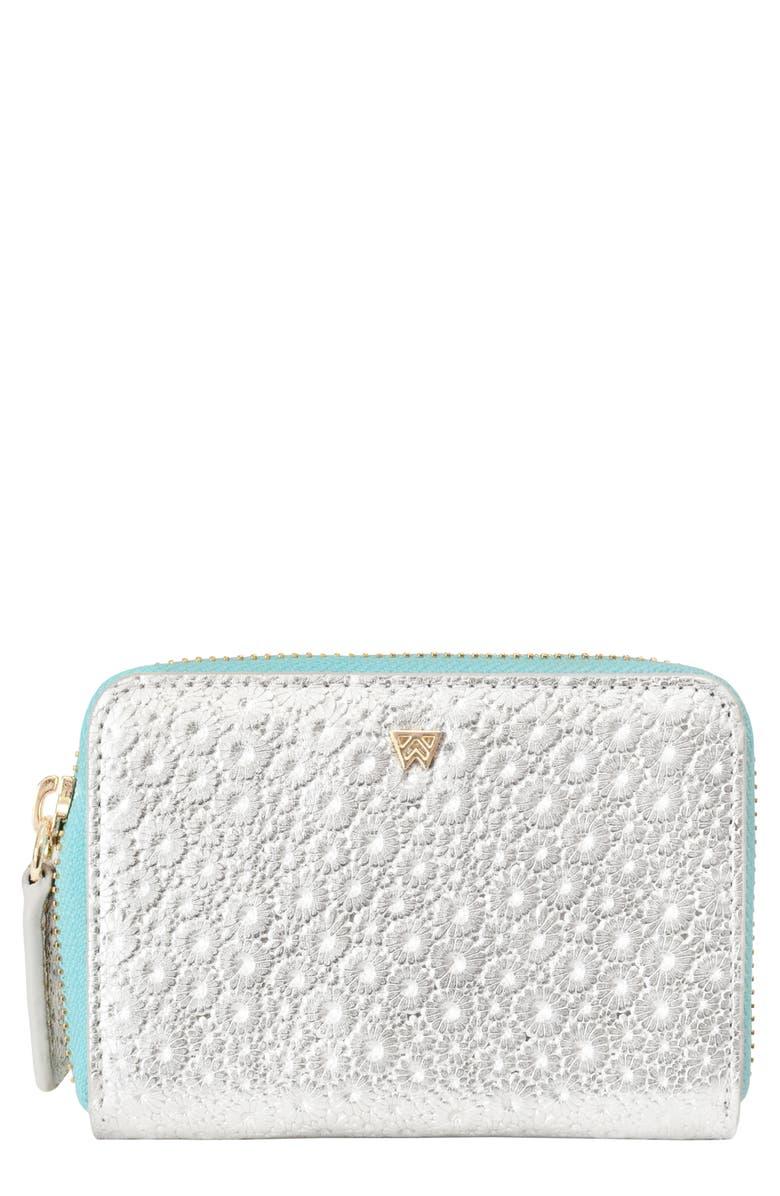 KELLY WYNNE Money Maker Mini Embossed Leather Zip Wallet, Main, color, FINE AND DANDELION