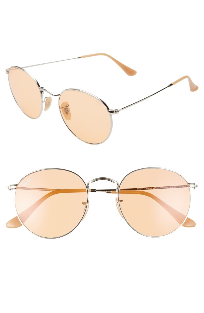 RAY-BAN 53mm Tinted Round Sunglasses, Main, color, 041